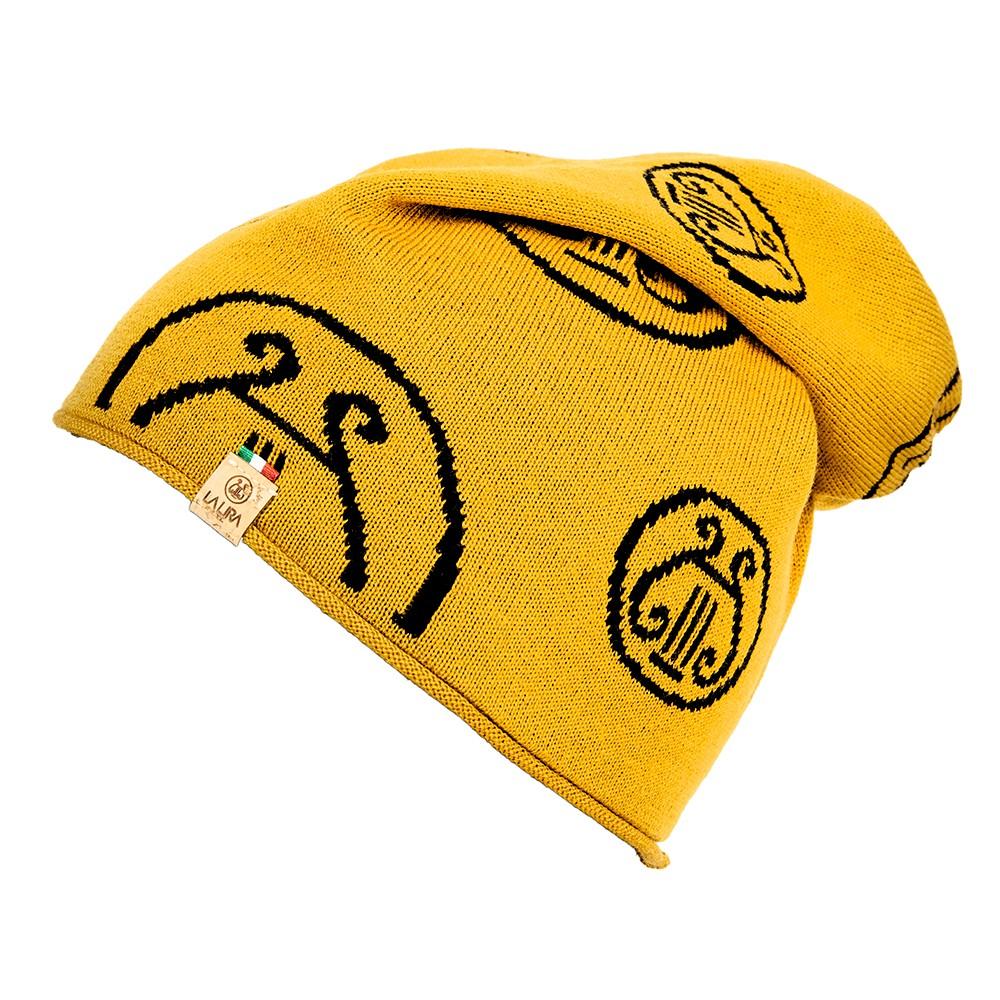 berretto LA LIRA lana unisex giallo oro nero