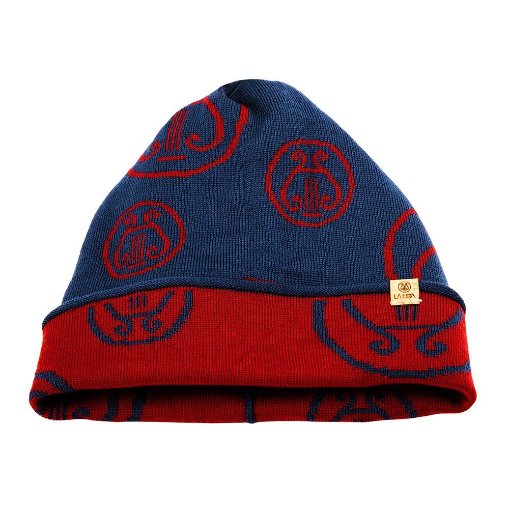 berretto LA LIRA lana unisex blu navy rosso