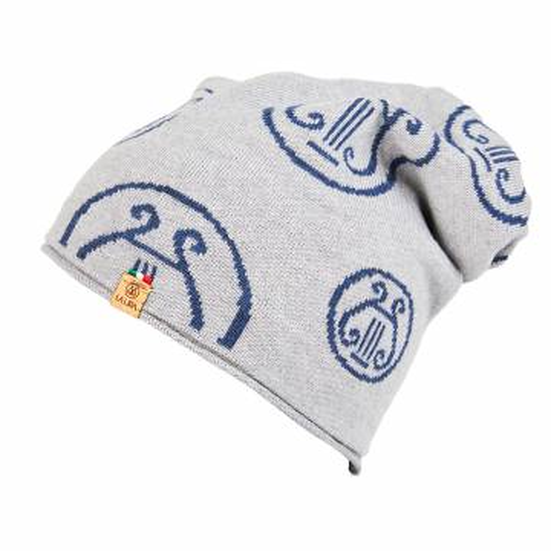 berretto LA LIRA lana unisex grigio ghiaccio blu