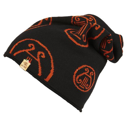 berretto LA LIRA lana unisex nero arancione