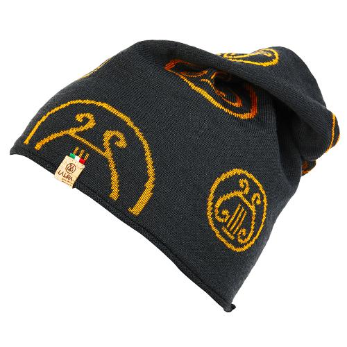 berretto LA LIRA lana unisex grigio giallo