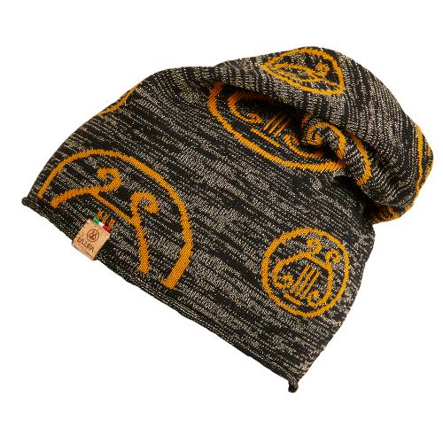 berretto LA LIRA lana unisex  nero giallo oro glitter