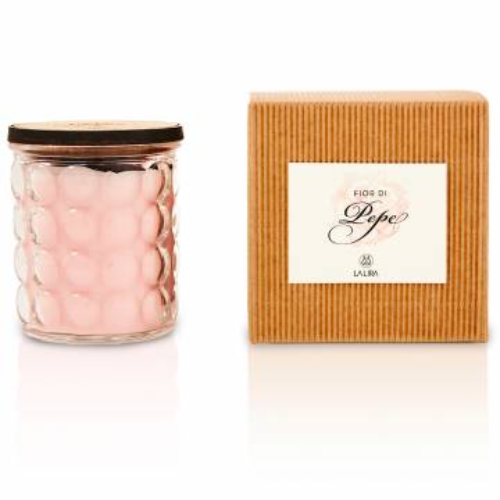 candela profumata bio naturale ibisco pepe rosa