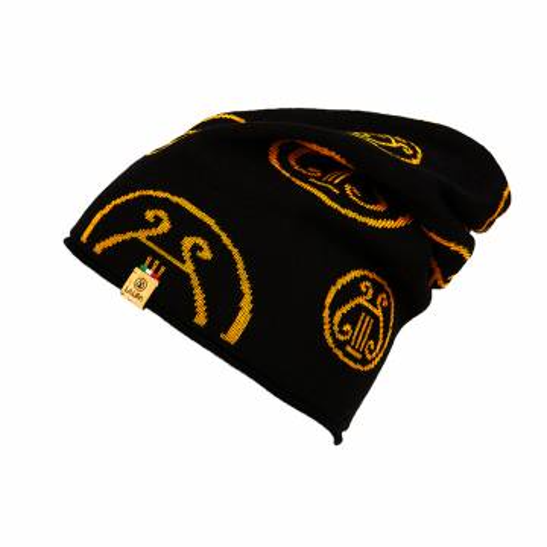 berretto LA LIRA lana unisex nero giallo oro