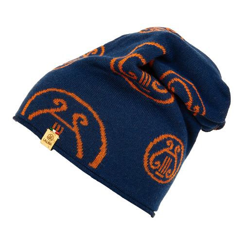 berretto LA LIRA lana unisex  blu navy arancione