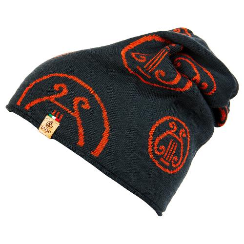 berretto LA LIRA lana unisex grigio antracite arancione